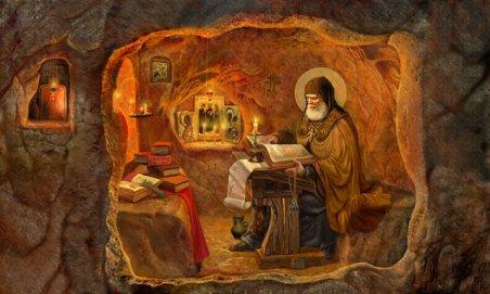Прп. Илья Муромец в пещерной келье в Киеве.